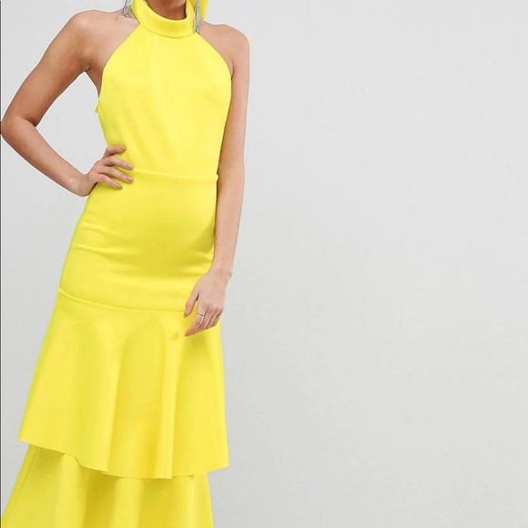 8201095d17a ASOS Design Tall yellow halter top dress